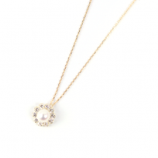 Pearl & CZ Flower Necklace | K10YG