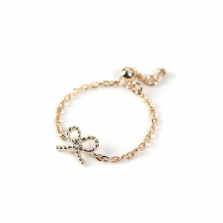 Diamond Bow Chain Ring | K10YG