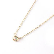 Tiny Round Opal Necklace | K10YG