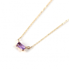 Tiny Amethyst Necklace | K10YG