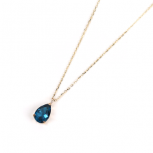 London Blue Topaz Teardrop Necklace | K10YG