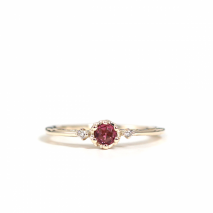 Rhodolite Garnet Hollow Ring | K10YG