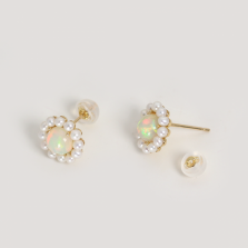 Opal & Pearl Flower Pierce | K18