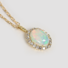 Oval Opal & Diamond Necklace | K18