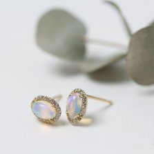 Oval Opal & Diamond Pierce | K18