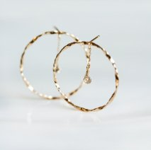 Nudy Diamond Hoop Pierce 0.2ct | K10YG