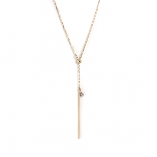 Nudie Diamond & Bar Necklace 0.1ct | K10YG