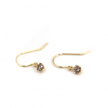 Champagne Diamond Hook Pierce 0.2ct | K18