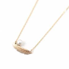 Pearl Feather Necklace | K10YG
