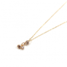 3 Stone Champagne Diamond Necklace | K10YG