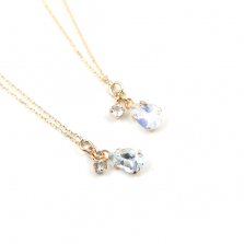 Aquamarine & Moonstone Necklace | K10YG