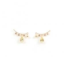 Honey Quartz & White Topaz Pierce | K10YG