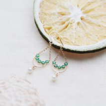 Emerald & Pearl Pierce | K18YG<img class='new_mark_img2' src='//img.shop-pro.jp/img/new/icons57.gif' style='border:none;display:inline;margin:0px;padding:0px;width:auto;' />