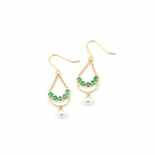 Emerald & Pearl Pierce | K18YG