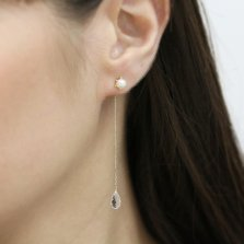 White Topaz Pierce Catch | K10YG