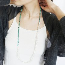 Turquoise & Pearl Long Necklace | K18