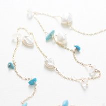 Turquoise & Pearl & Labradorite Long Necklace | K10YG