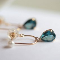London Blue Topaz & Pearl Hoop Pierce | K10YG