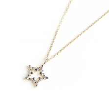 Tiny Diamond Star Necklace | K10YG
