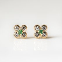 Emerald & CZ Flower Pierce | K18