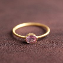 Oval Pink Sapphire Ring | K14YG