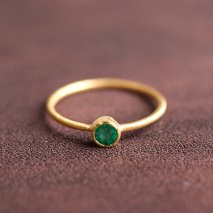 Round Emerald Ring | K14YG