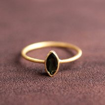Marquise Green Tourmaline Ring | K14YG