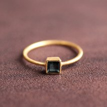 Square Blue Tourmaline Ring | K14YG
