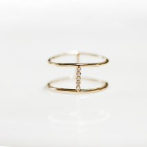 Tiny Diamond Line Ring | K10YG