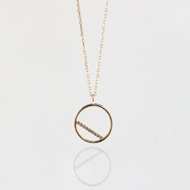 Tiny Diamond Round Necklace | K10YG