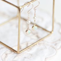 Opal & Pearl Hook Pierce | K10YG