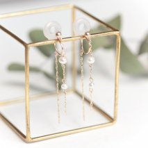 Pearl & Chain Earrings | K10YG