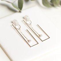 Pearl & Square Hoop Earring | K10YG