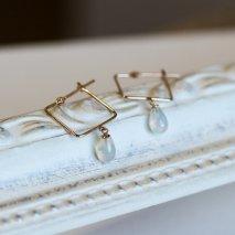 Opal Square Hoop Pierce | K10YG