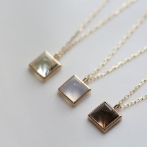 Square Color Stone Necklace | K10YG