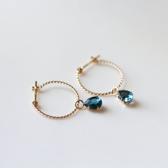 London Blue Topaz & Twisted Hoop Pierce | K10YG