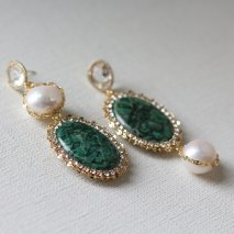 Green fossil & Crystal Pearl Pierce<img class='new_mark_img2' src='//img.shop-pro.jp/img/new/icons14.gif' style='border:none;display:inline;margin:0px;padding:0px;width:auto;' />
