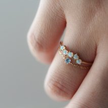 Blue Topaz Chain Ring | K10YG<img class='new_mark_img2' src='https://img.shop-pro.jp/img/new/icons14.gif' style='border:none;display:inline;margin:0px;padding:0px;width:auto;' />