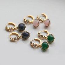Color Stone & Crystal Hoop Pierce