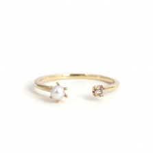 Pearl & Champagne diamond Fork Ring | K10YG