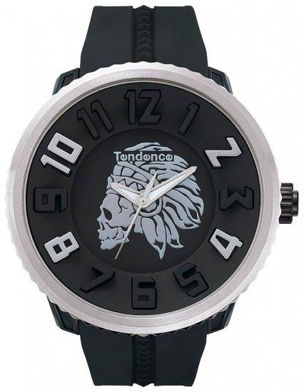 テンデンス×ハイドロゲン ガリバーラウンド アパッチスカル ブラック×シルバー 腕時計 メンズ  05023014H/TENDENCE ×Hydrogen  Gulliver Apache Sku…