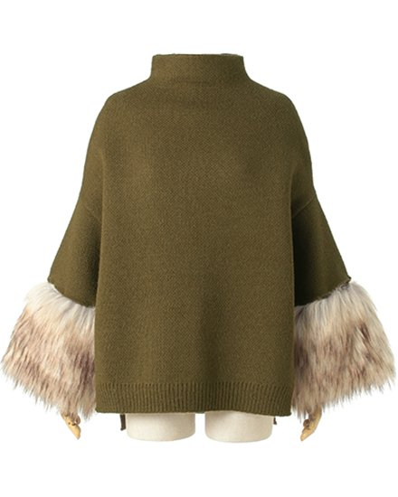 SLEEVE FUR BOTTLENECK KNIT