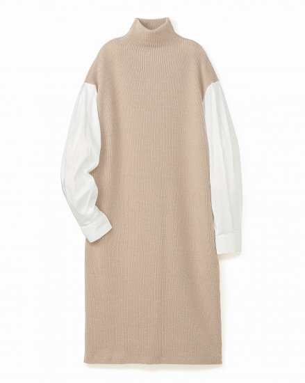 SHIRT LAYERED KNIT DRESS