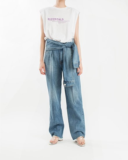 LOIN TIE DENIM PANTS