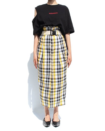 HIGH WAIST CHECK SKIRT