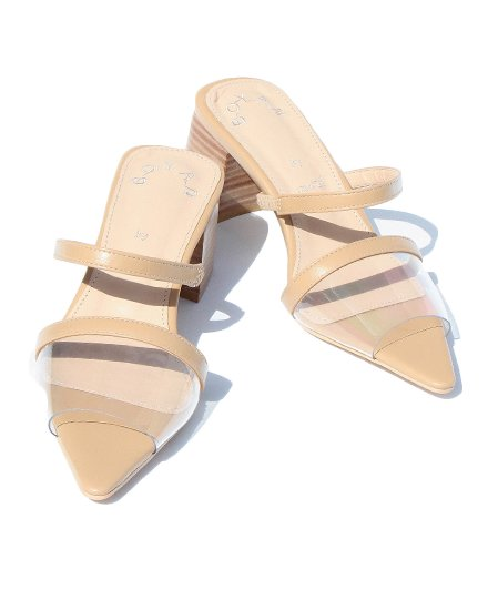 【 NEW 】CLEAR TOE WOOD HEEL