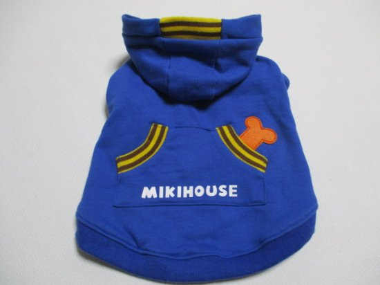 MIKI HOUSE L 胴回り52㎝ ボーン&ポケット スエットパーカー ブルー 美品中古