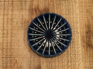 美濃焼き ぎやまん陶 茄子紺ブルー 三寸皿