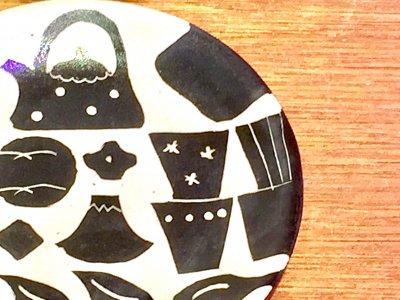 矢島操さんのモノクロ皿(器)