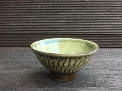 小鹿田焼 外飛び鉋 縁 4寸飯碗(坂本工窯)